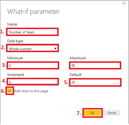 new what if parameter details years