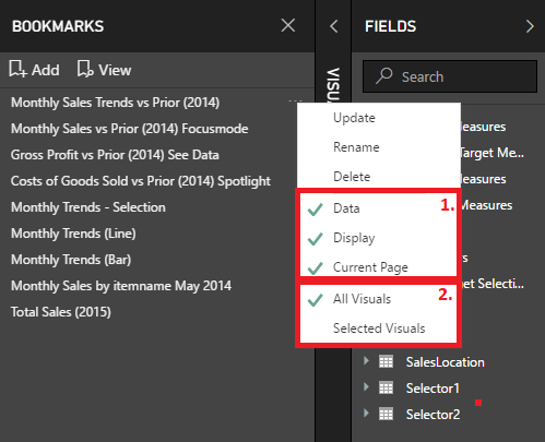 Power BI Desktop Bookmark Properties