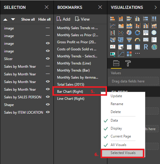 Power BI Bookmark Selected Visuals