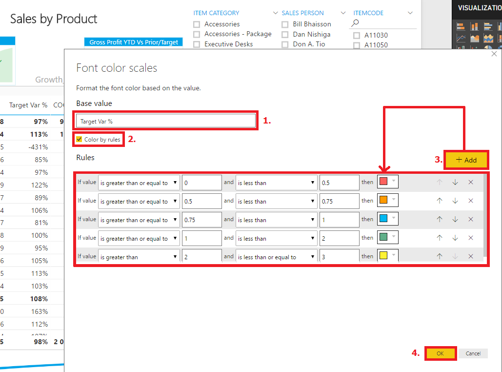 Power BI Matrix Rule-based Conditional Formatting