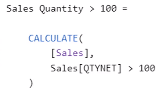 Sales Quantity greater than 100